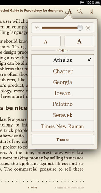 Custom Font for Apple Inc - iBooks by Typetogether