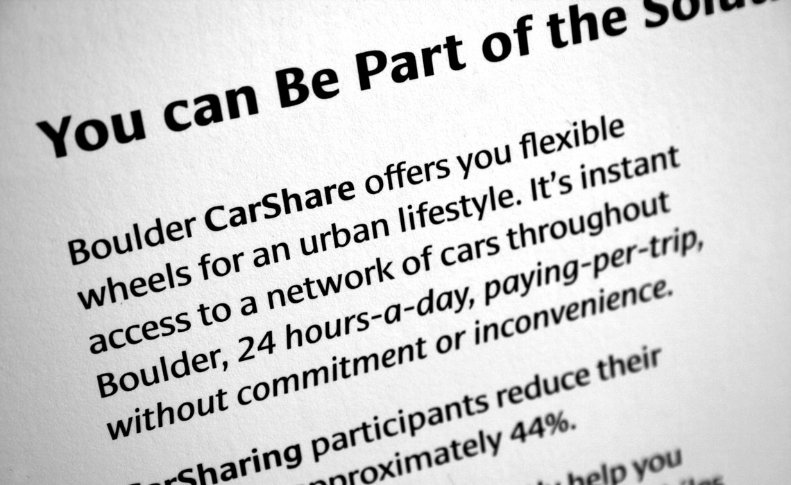 Boulder CarShare group promoting sustainable car use by sharing vehicles, chose Cora and Ronnia for their branding