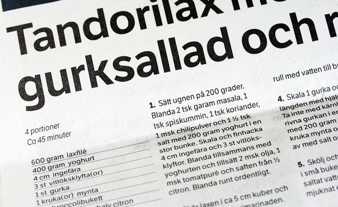 A range of TypeTogether's typefaces used for newspaper design