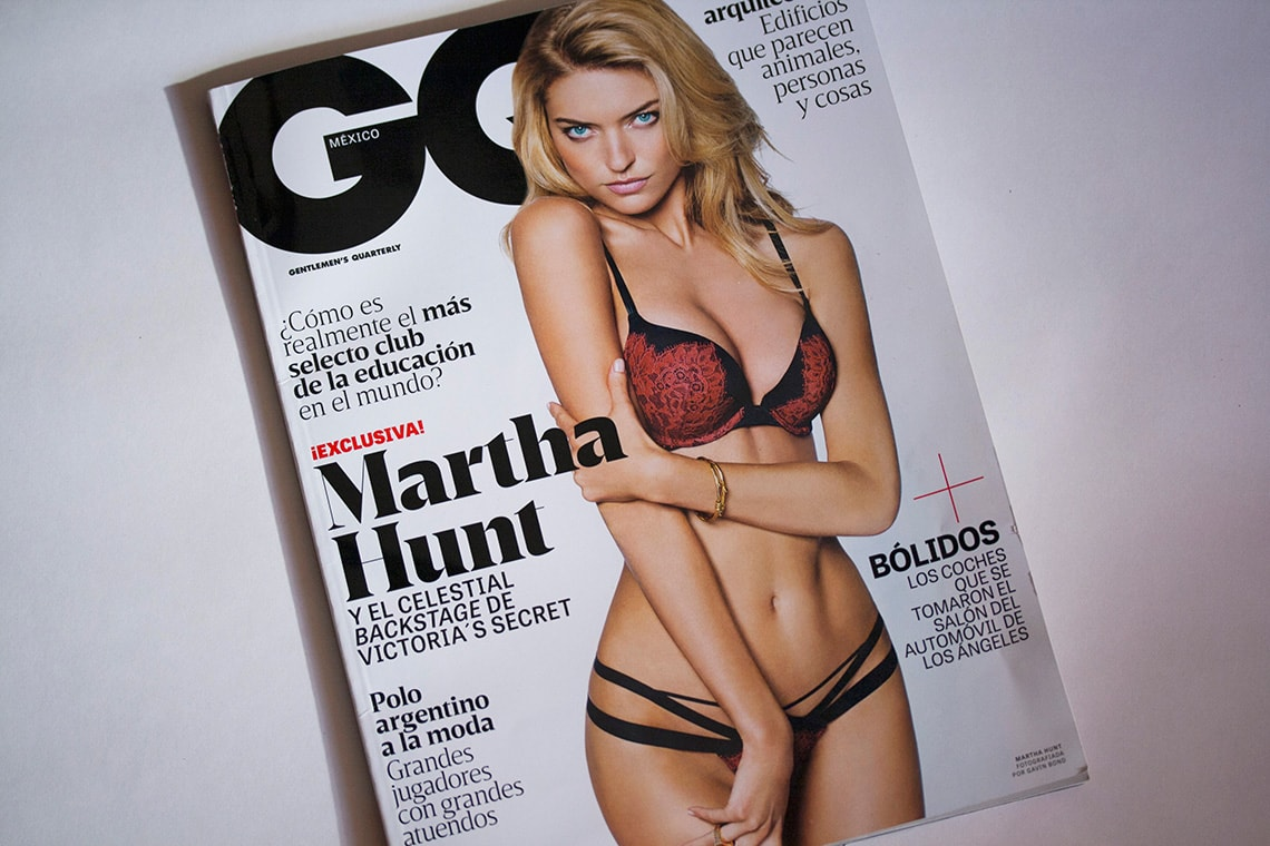 Tablet Gothic in use in the Mexican edition of GQ Magazine
