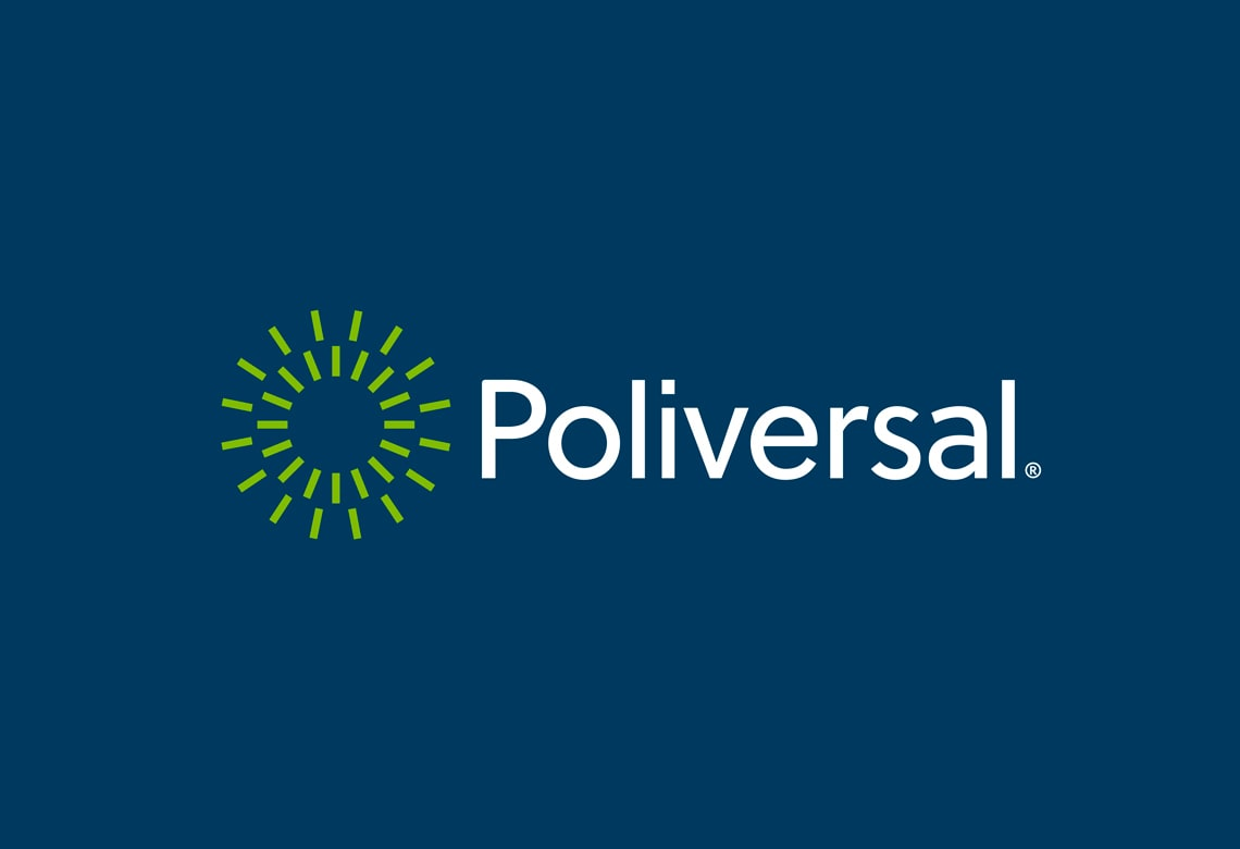 The new Poliversal logo and corporate identity uses Soleil